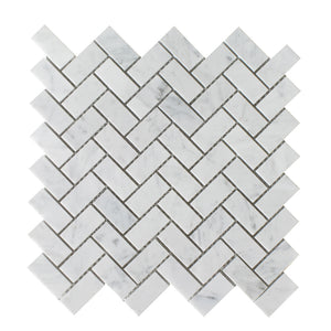 "Bianco Carrara Polished 3/4""x2"" Herringbone Mosaic"