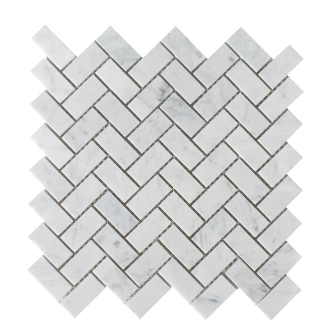 "Bianco Carrara Honed Herringbone 3/4""x2"" Mosaic"