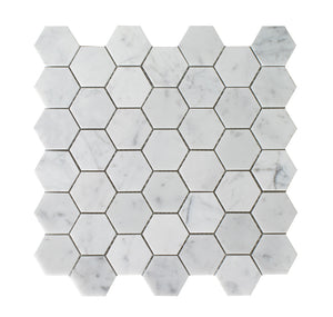 "Bianco Carrara Honed 2"" Hexagon Mosaic"