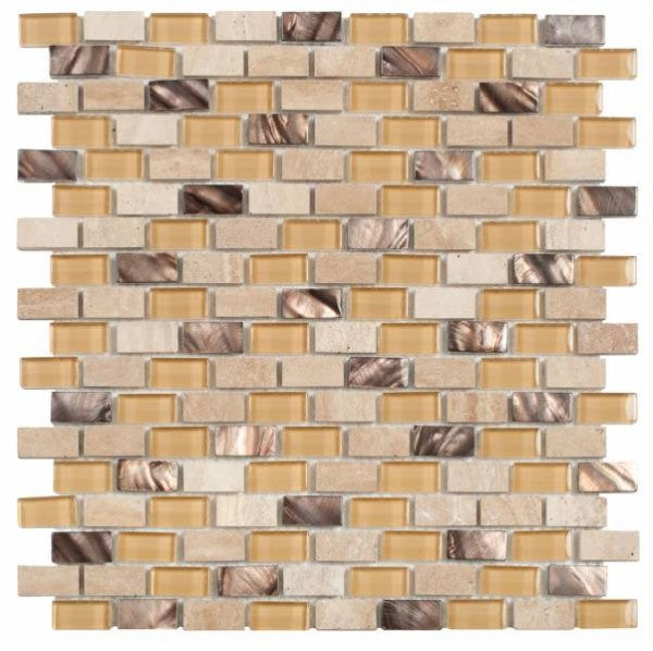 MAMI119 Beige Brick Marble/Glass/Brown Shell