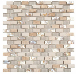 MAMI120 Beige/White Brick Marble/Glass/Beige Shell