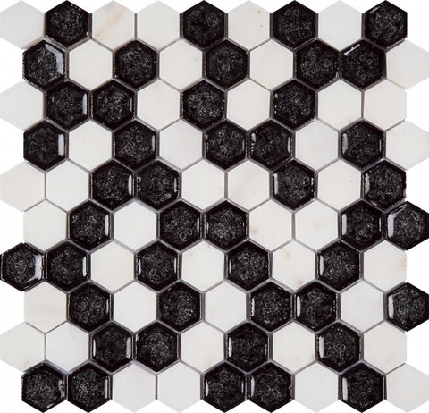 MAMI144 Glass Marble White/Black Hexagon
