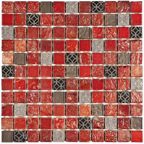 "MAMI32 Red/Grey Glass Mix Marble 1""x1"""