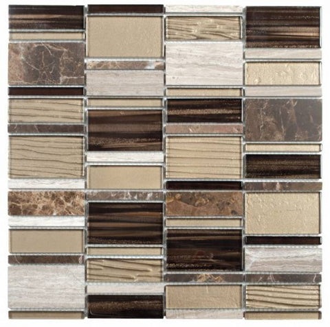 MAMI92 Beige Brown Mixed Rectangle Marble & Glass