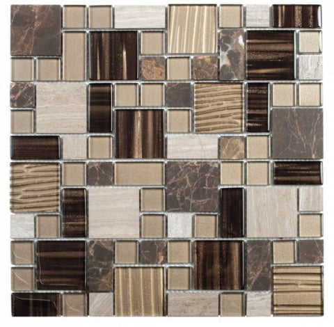 MAMI93 Beige Brown Mixed Size Marble & Glass