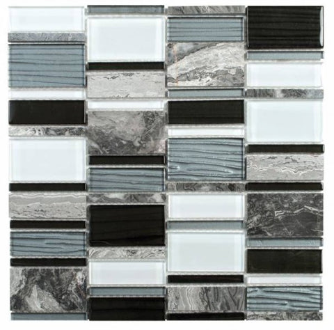 MAMI94 Grey Marble/Black Grey White Glass Rectangle Mosaic