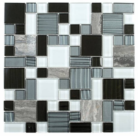 MAMI95 Grey Marble/Black Grey White Glass Mixed Mosaic