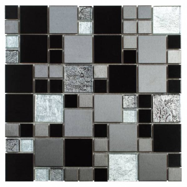 MEMI35- Black Brushed Steel Mix Grey Glass Cube Mosaic