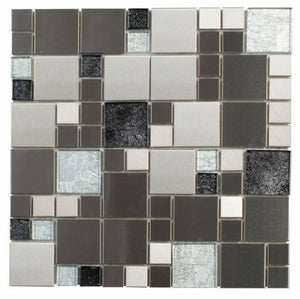 MEMI36- Silver Brushed Steel Mix Grey Glass Cube Mosaic
