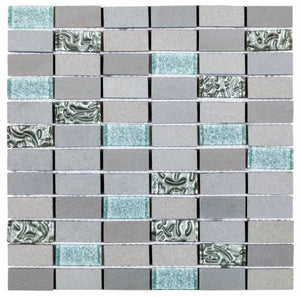 PIGR17- Grey/Silver Glass & Grey Stone Brick