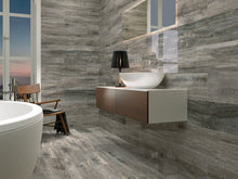 "Load image into Gallery viewer, APE- Quintessence Premium Polished & Rectified Wood Tile 9""x47""- Graphite"