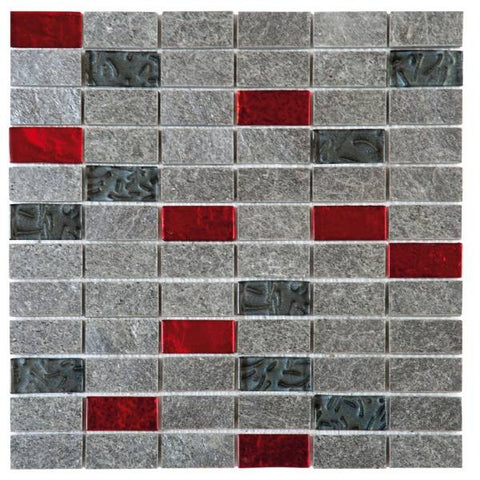 "QUMI12- Grey Natural Quartzite Red Glass 1""x2"""