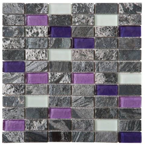 "QUMI13- Grey Natural Quartzite Purple/White Glass 1""x2"""