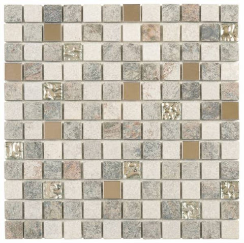 "QUMI17- Grey Beige Glass Quartzite & Metal 7/8""x7/8"""