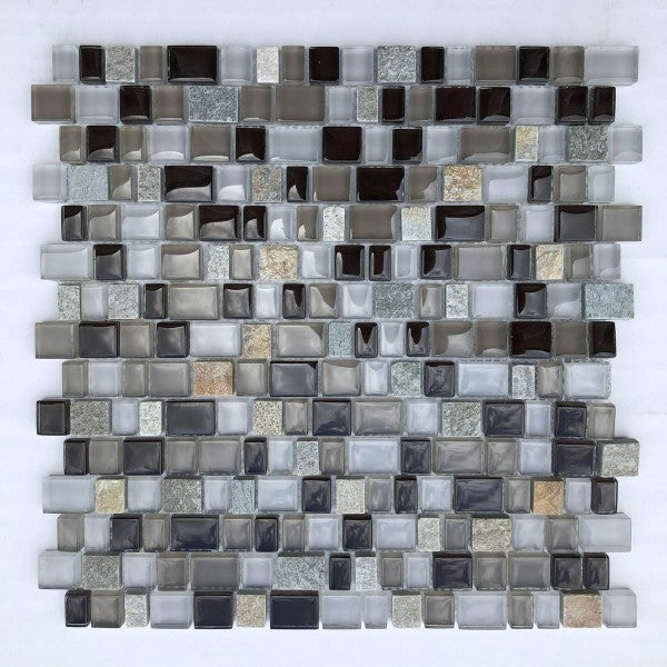 QUMI18- Beige Glass & Quartzite Multi Size Interlocking