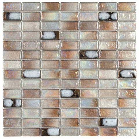 "VEBE02- Beige Glass & Ceramic Brick 3/4""x1"""