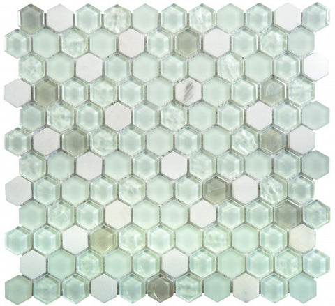 VEBL41- Glass Marble White Matte/Glossy Hexagon
