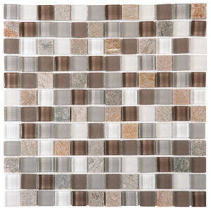 "VEMI109 Beige Mix Quartzite Glass 7/8""x7/8"""