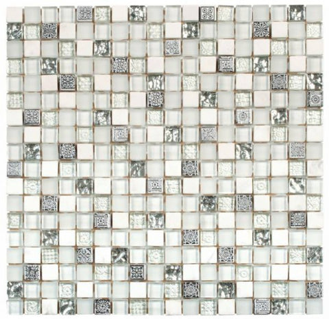 "VEMI114 White Grey Glass Mosaic 5/8""x5/8"""