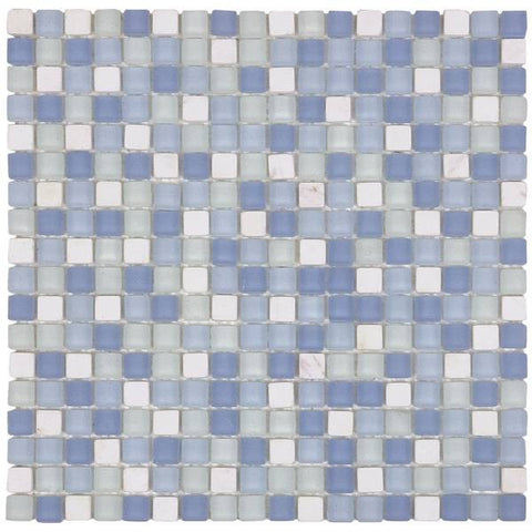 "VEMI89 White Marble/Blue Matte Glass 5/8""x5/8"""