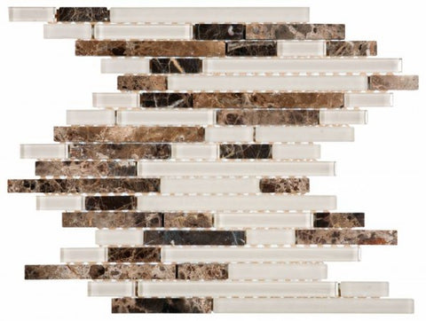 VEMI90 Brown Marble Beige Glass Baguette