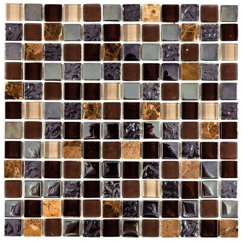 VEMI92 Brown/Mix Glossy Glass Mix Marble