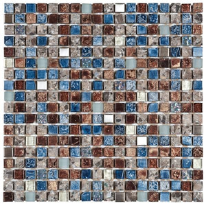 "VEMI93 Mix Blue/Steel/Blue Glass Mosaic 5/8""x5/8"""