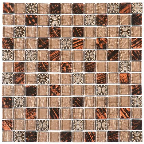 "VEMI99 Brown Decor Mix Marble Glass 7/8""x7/8"""