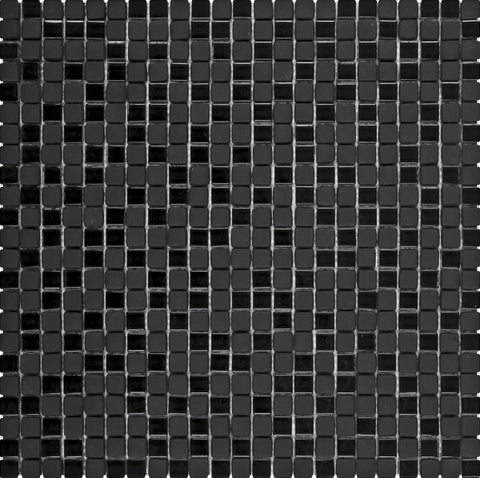 "VENO04- Black Matte & Shiny Mini Glass Mosaic 5/16""x5/16"""