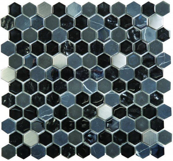 VENO34- Hexagon Black Glass