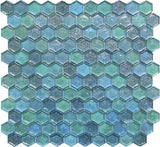 VEVE40- Hexagon Blue Mix Glass Mosaic