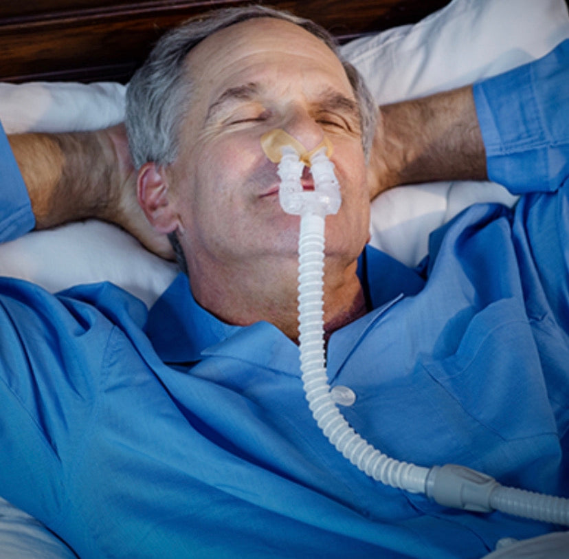 DreamPort Sleep Solution allows for more freedom of movement with CPAP use. Tube management of the primary 6' CPAP tube makes the DreamPort nearly weightless.
