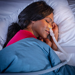 DreamPort Sleep Solution encourages side and stomach use without the annoying leaks caused by a pillow disturbing the silicone seal or traditional headgear. This means more consolidated sleep with uninterrupted arousals due to leaks.