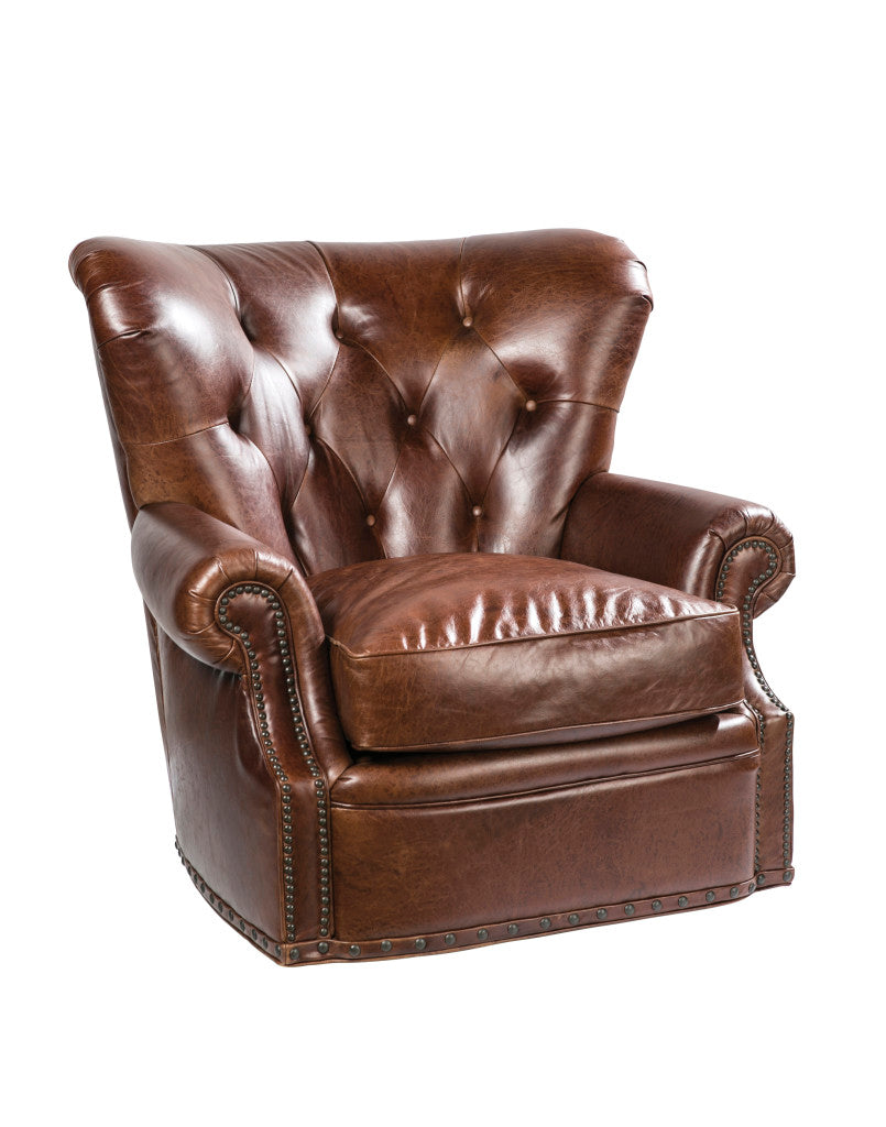 Palatial Leather Baron Swivel Chair