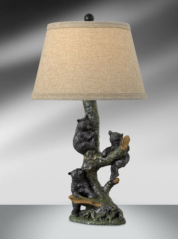 Natural Tree and Black Bear Resin Table Lamp 125BHWT