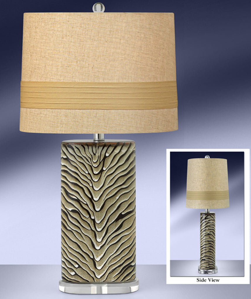 Ebony and Tan Glaze Ceramic Table Lamp 194EBBT