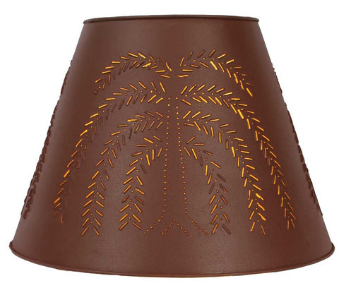 "9"" x 17"" x 12"" Tin Washer Top Lamp Shade - Red Willow"