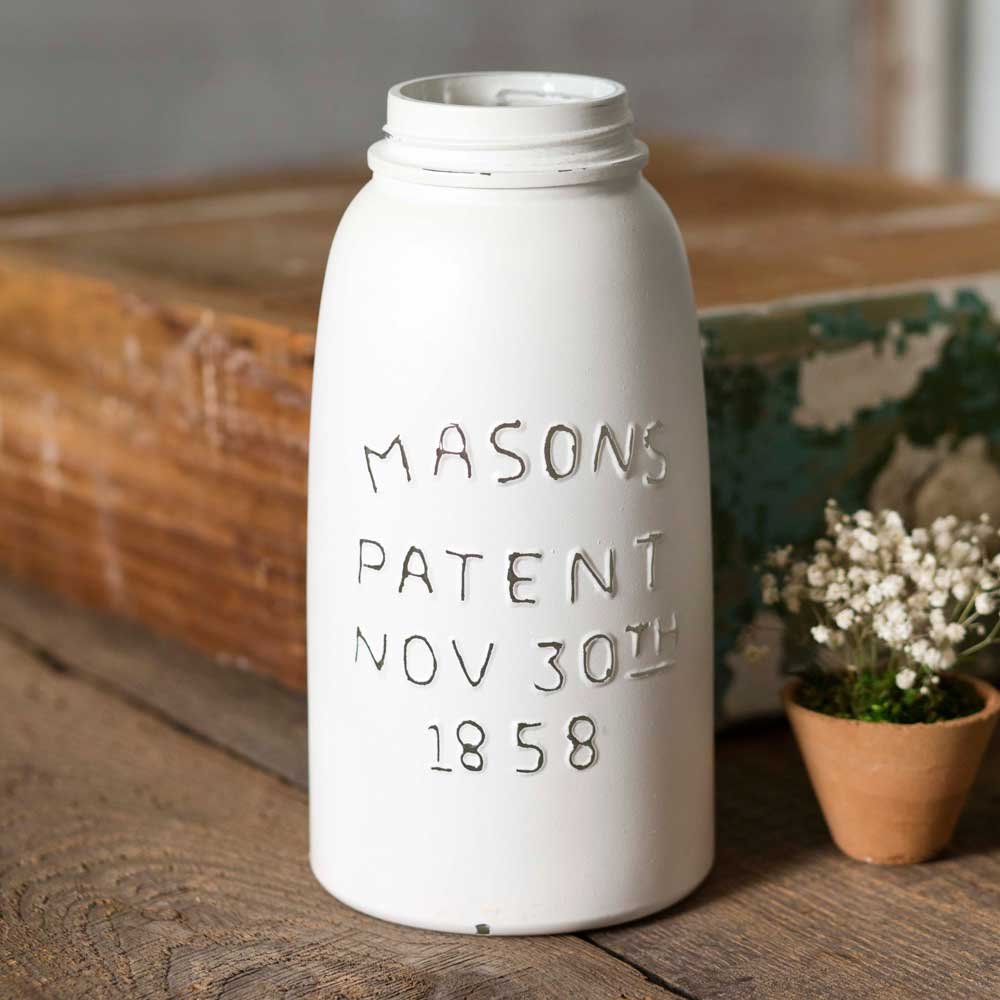 White Half Gallon Mason Jar