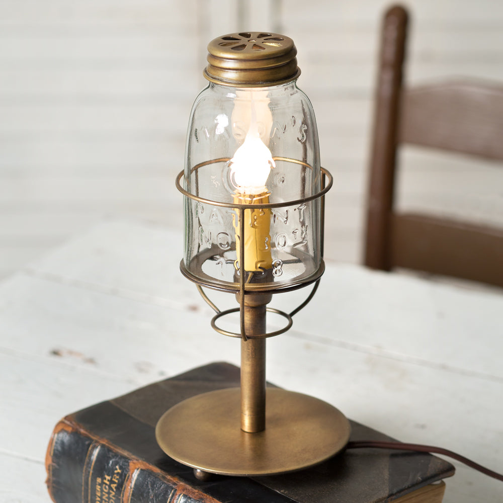 Sale! Short Mason Jar Desk Lamp - Antique Brass