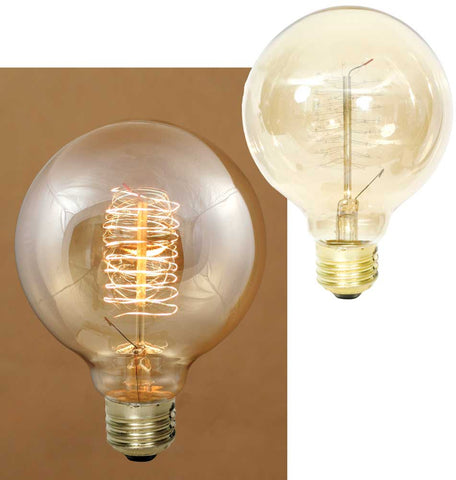 40 Watt Balloon Vintage Style Bulb with Spiral Filament