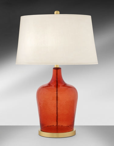 Deep Citrus Orange Glass and Steel Table Lamp 385DLH