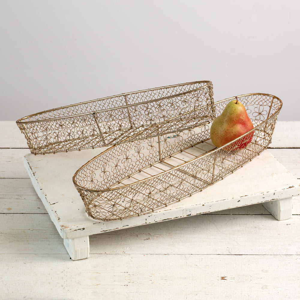 Future Ship 08/23 - Set of Two Champagne Gold Wire Baskets