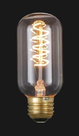 "Edison (standard size) Base, Vintage Style Light Bulb with ""Spiral"" Filament, 4 1/4"" ht., 40W/120V"
