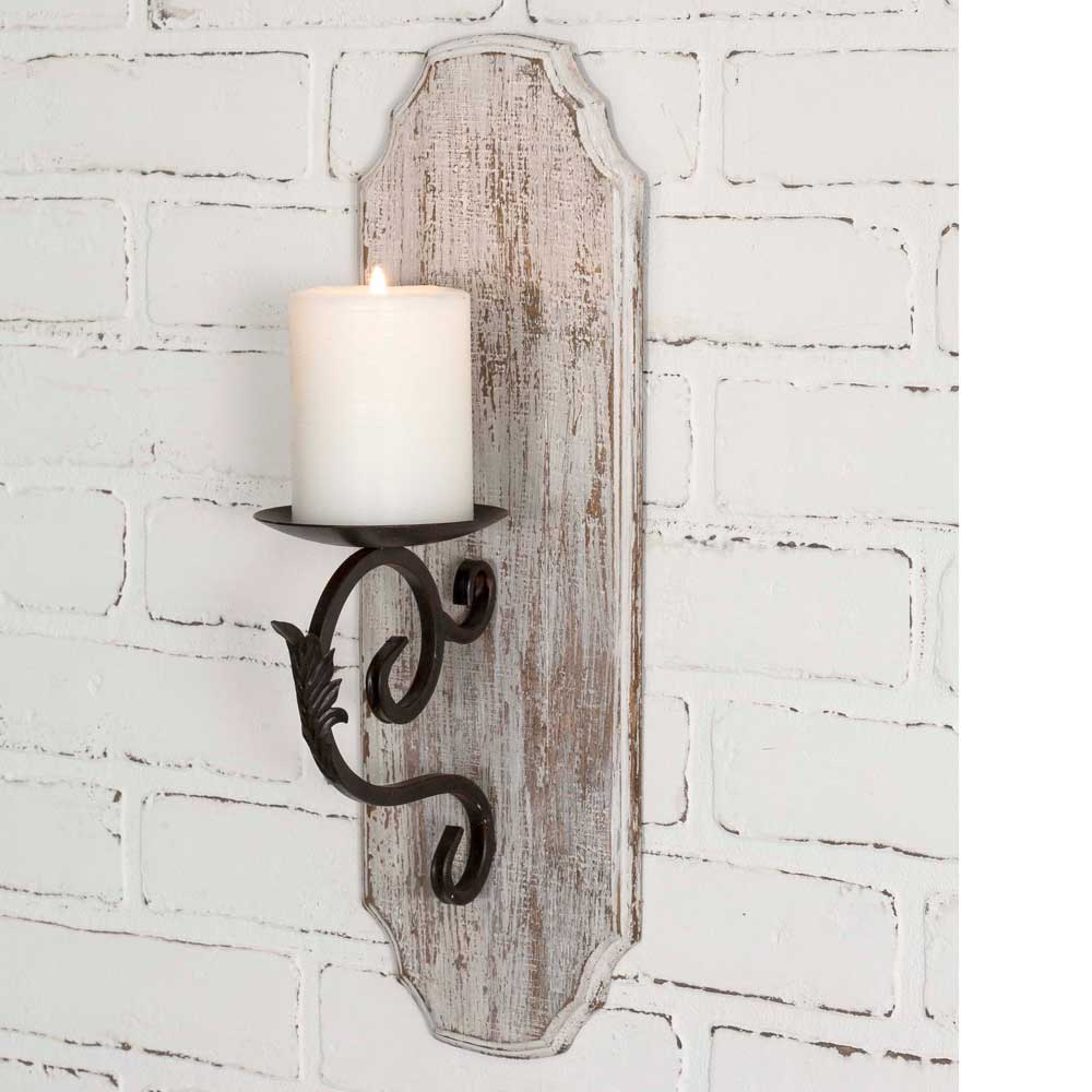 Sale! White Wood Pillar Candle Sconce