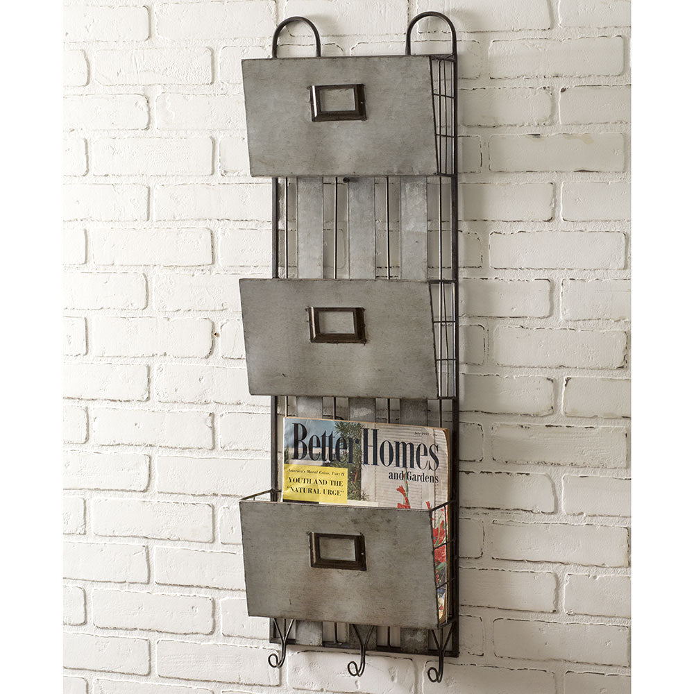Three Pocket Metal Wall Organizer