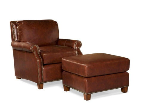 Palatial Leather Kingston Chair and Ottoman