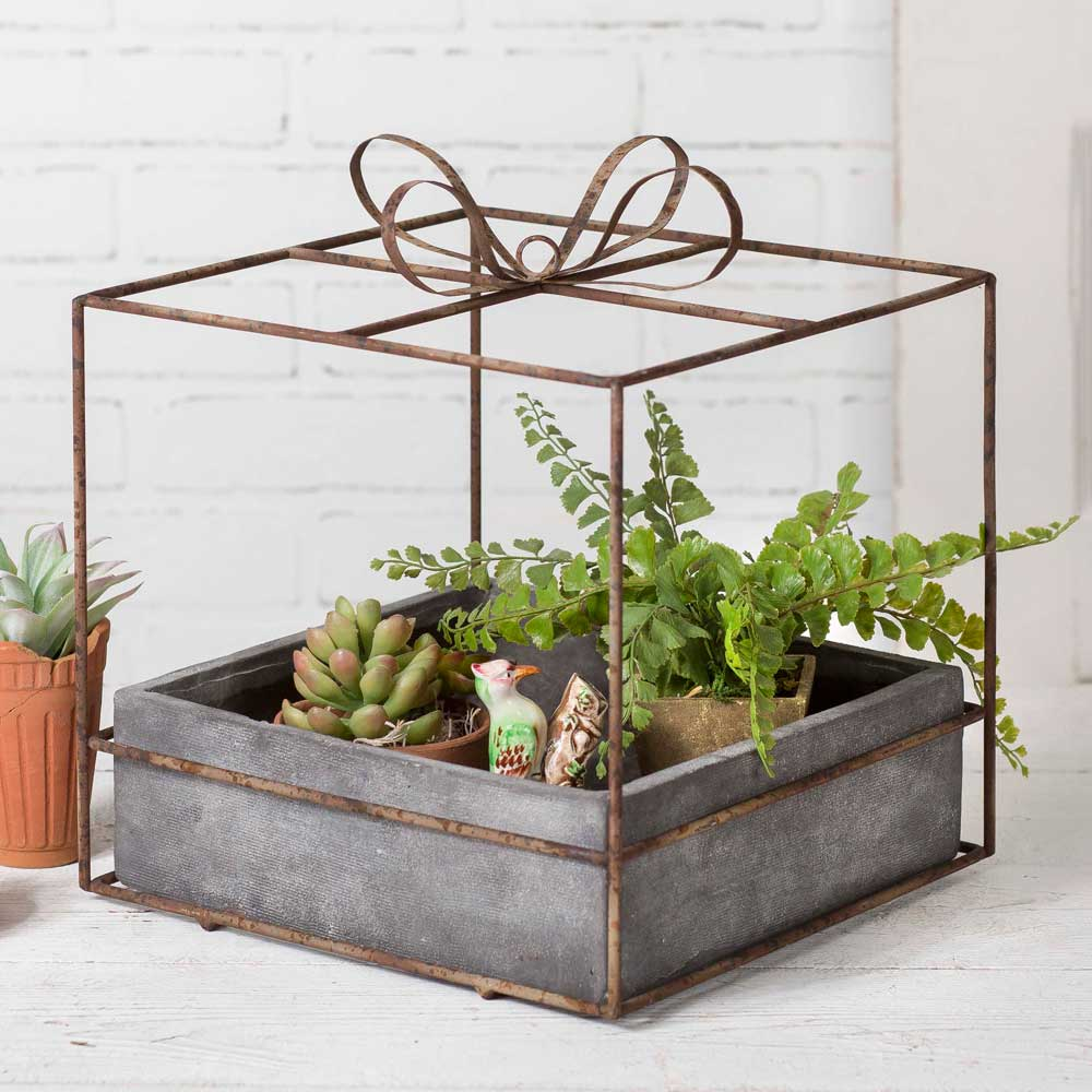Gift Box Planter with Pot