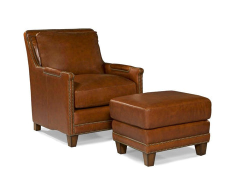 Palatial Leather Prescott Chair and Ottoman
