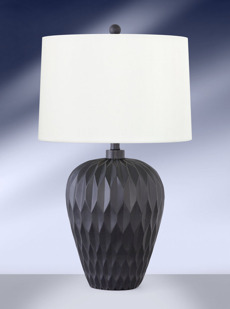 Contemporary Satin Black Chiseled Table Lamp 679DWRE