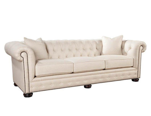 Palatial Leather Renaissance Sofa Linen Flax